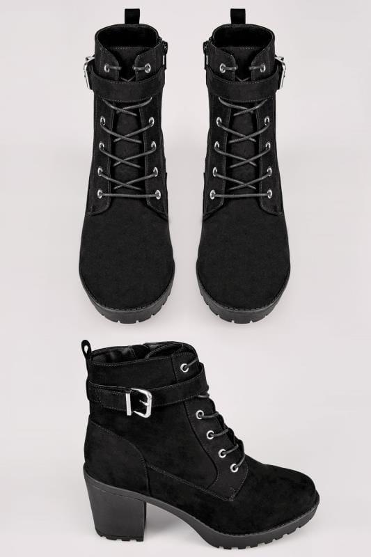Schwarze Stiefel mit weiter Passform und Schnalle