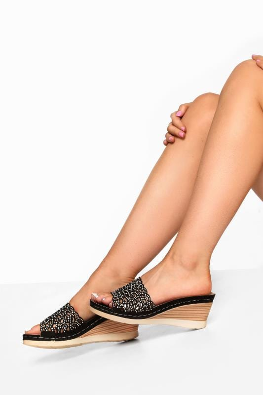 Wide Fit Sandals Black Laser Cut Diamante Heeled Mules In Extra Wide Fit