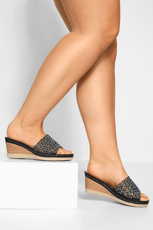 Black Laser Cut Diamante Heeled Mules In Extra Wide Fit