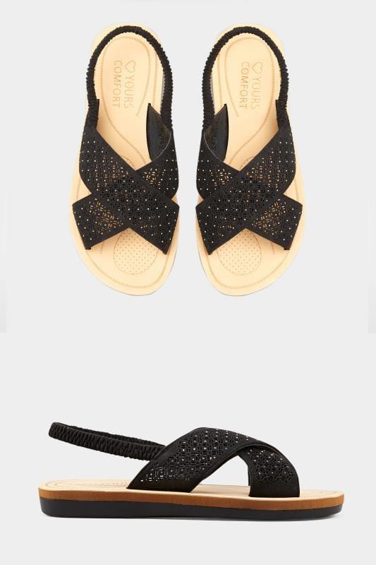 Black Laser Cut Diamante Sandals In Extra Wide Fit
