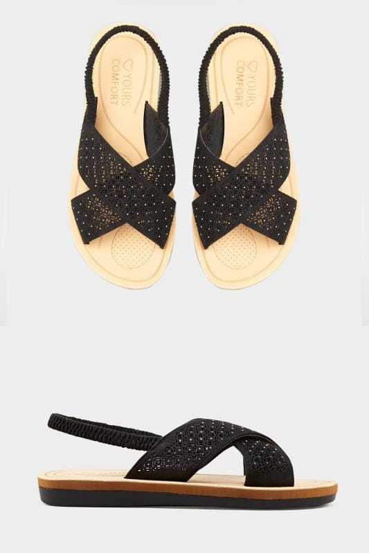Black Laser Cut Diamante Sandals In Extra Wide Fit