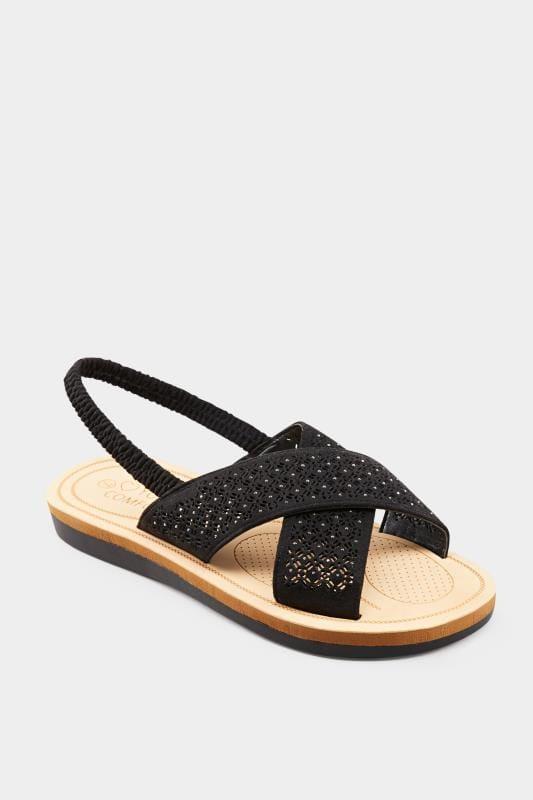 Schwarze Sandalen mit Laser Cut-Outs