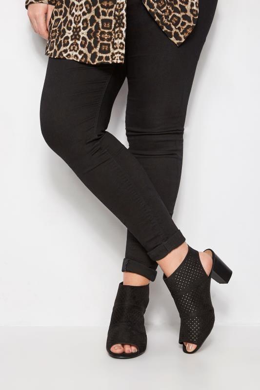 Black Laser Cut Sandals With Block Heel In EEE Fit