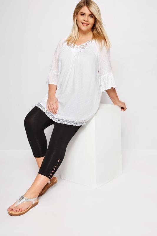 Plus Size Cropped & Short Leggings Black Lattice Cropped Legging