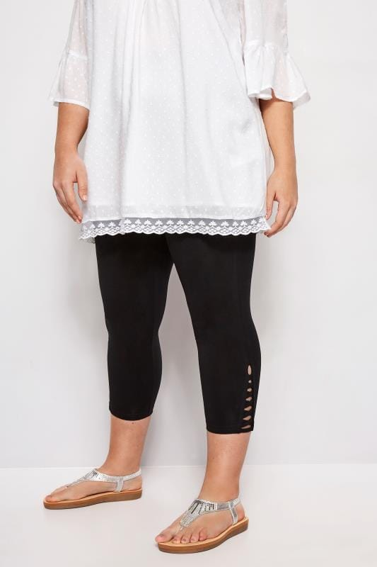 Black Lattice Cropped Legging