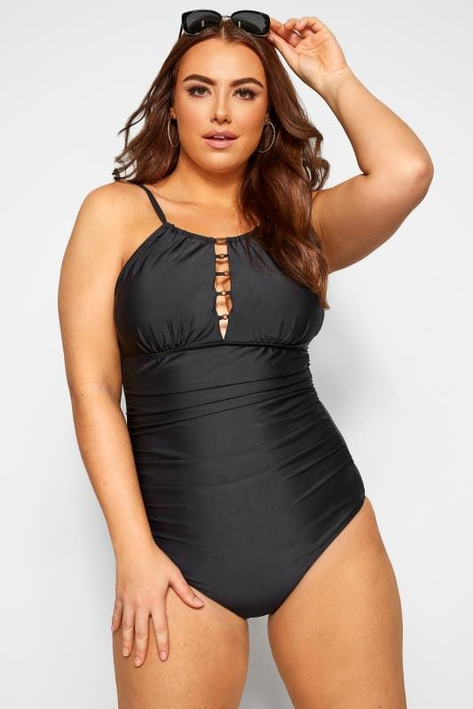 Plus Size Swimsuits Black Lattice Swimsuit