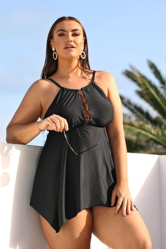 Plus Size Bikinis & Tankinis Black Lattice Tankini Top