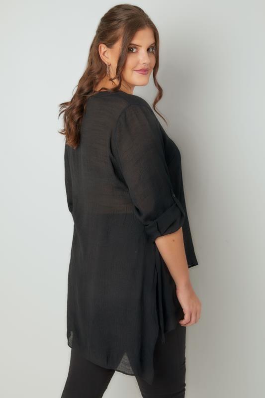 Schwarze mehrlagige Bluse mit Stehkragen & abgerundetem Saum