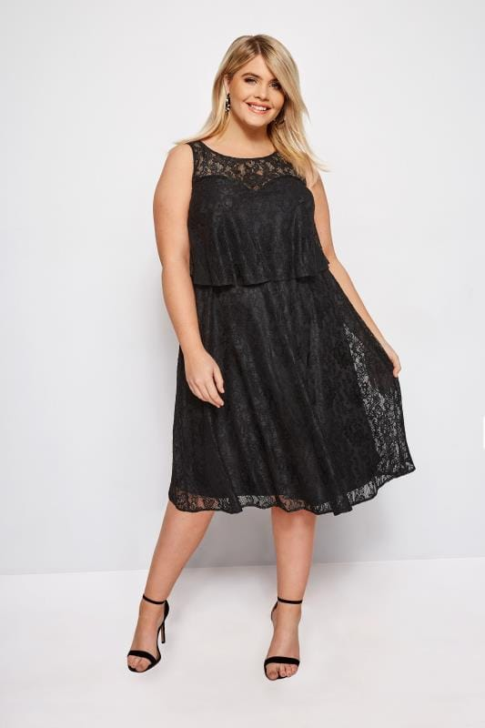 Plus Size Evening Dresses Black Layered Lace Dress