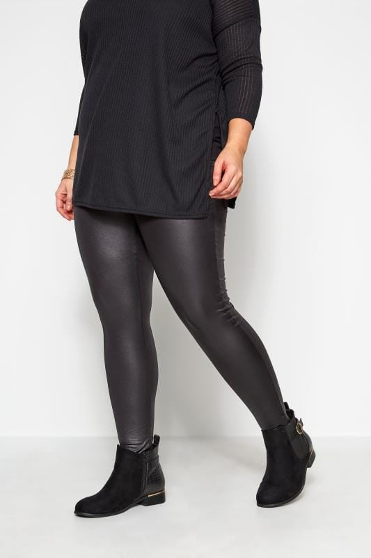 Plus Size Fashion Leggings Black Leather Look Leggings
