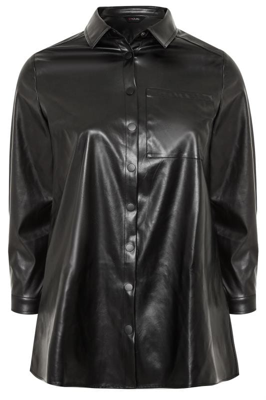 Black PU Leather Look Shirt