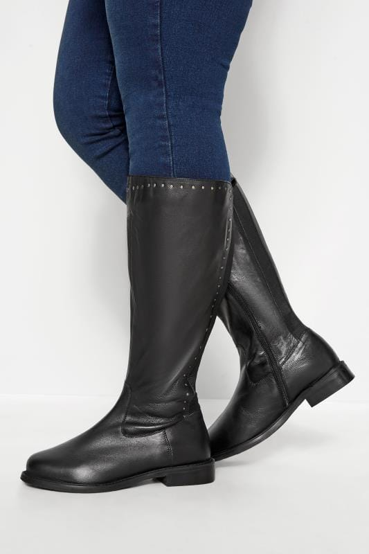 Wide Fit Knee High Boots Black Leather Stud Trim Knee High Boots In Extra Wide Fit