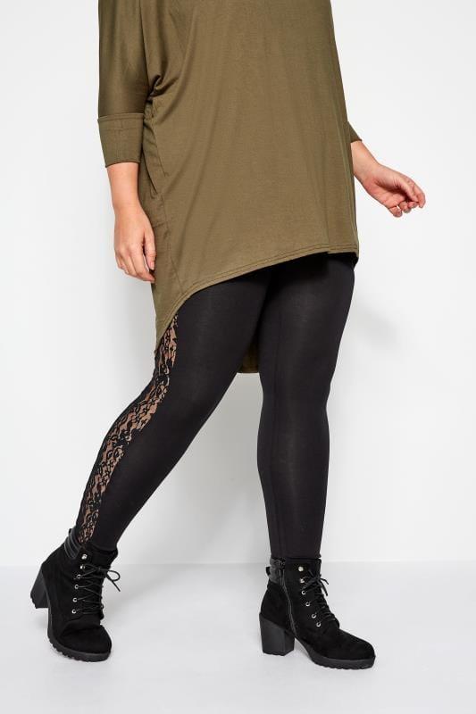 Plus Size Fashion Leggings Black Leggings With Floral Lace Insert