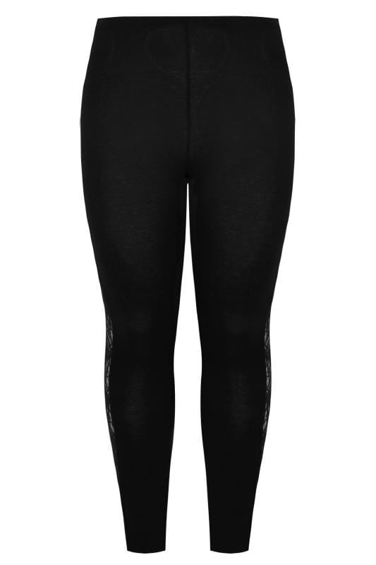 Black Leggings With Floral Lace Insert