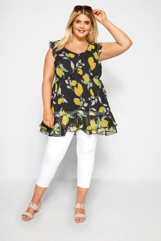 Black Lemon Print Chiffon Smock Top