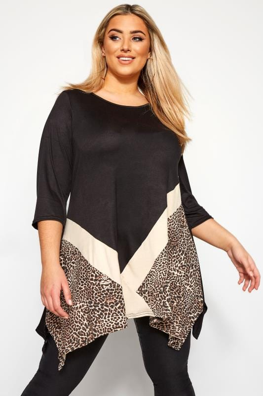 Black Leopard Colour Block Top