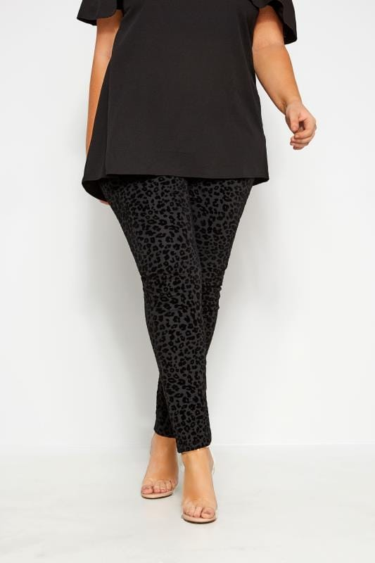 Black Leopard Flocked Ponte Leggings