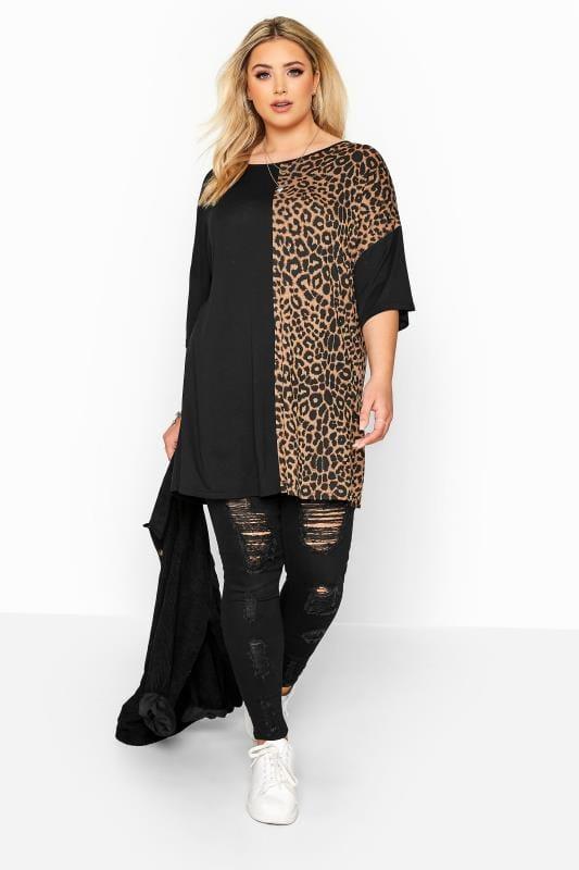Black Leopard Print Colour Block Oversized Top