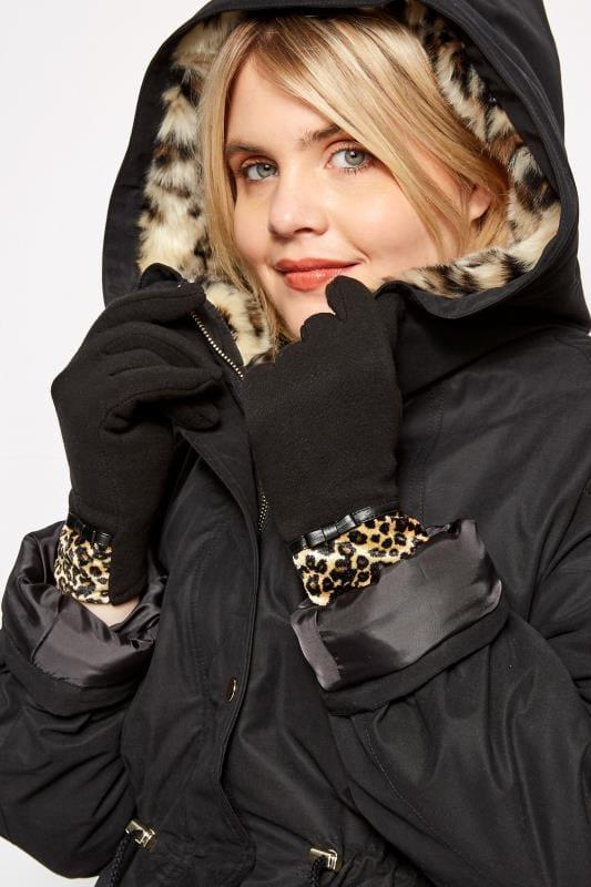 Plus Size Gloves Black Leopard Print Gloves