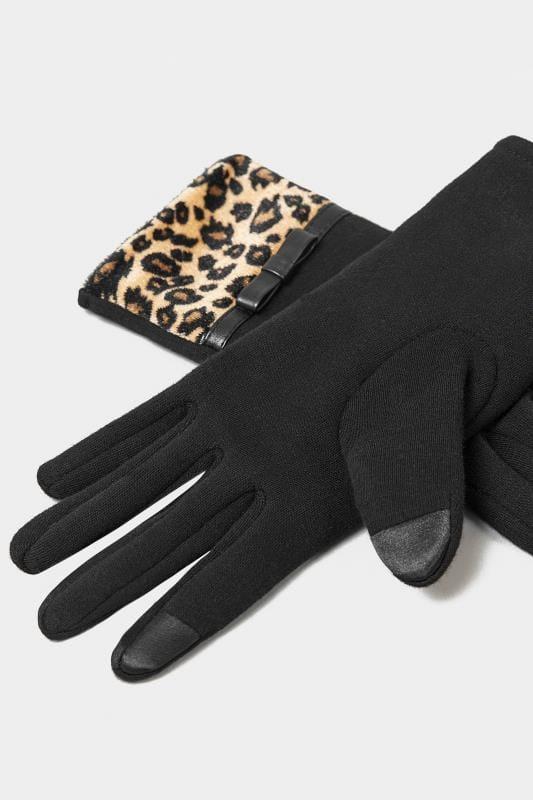Handschuhe mit Leomuster - Schwarz