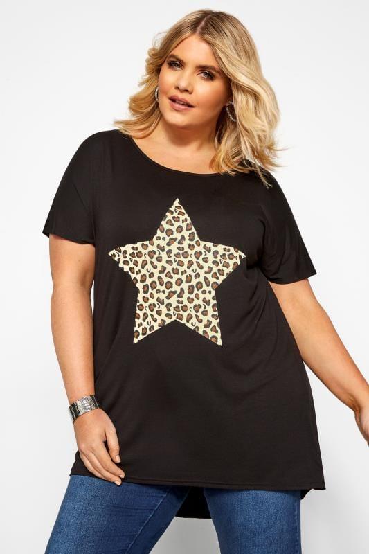 T-Shirts Grande Taille Black Leopard Star Print T-Shirt