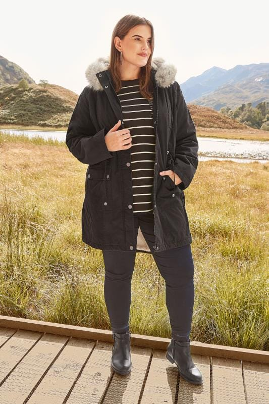 Black Lined Parka With Faux Fur Trim Hood