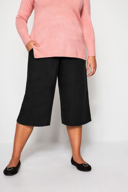 Plus Size Cropped Trousers Black Linen Culottes
