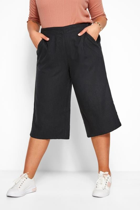 Cropped Trousers dla puszystych Black Linen Culottes