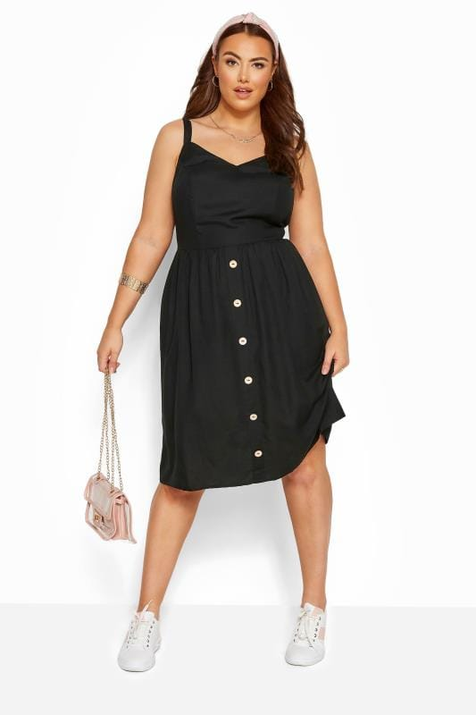 Plus Size Casual Dresses Black Linen Feel Sundress