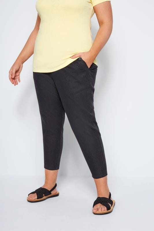 Plus Size Linen Mix Pants Black Linen Mix Cropped Trousers