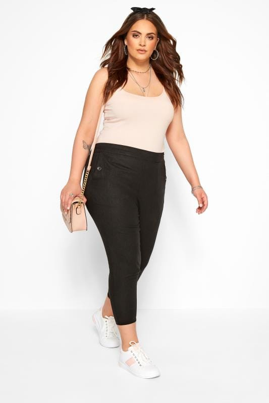 Plus Size Linen Mix Trousers Black Linen Mix Cropped Trousers