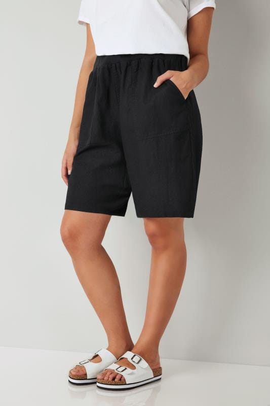 Plus Size Linen Mix Shorts Black Linen Mix Pull On Shorts