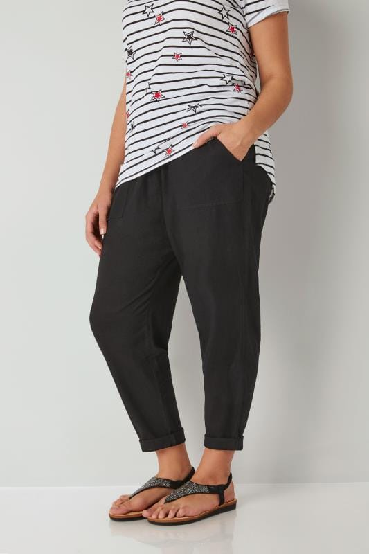 Black Linen Mix Pull On Tapered Trousers
