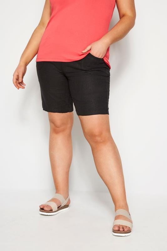 Plus Size Linen Mix Shorts Black Linen Mix Shorts