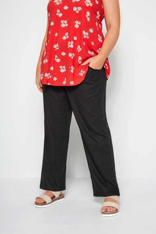 Plus Size Linen Mix Trousers Black Linen Mix Wide Leg Trousers