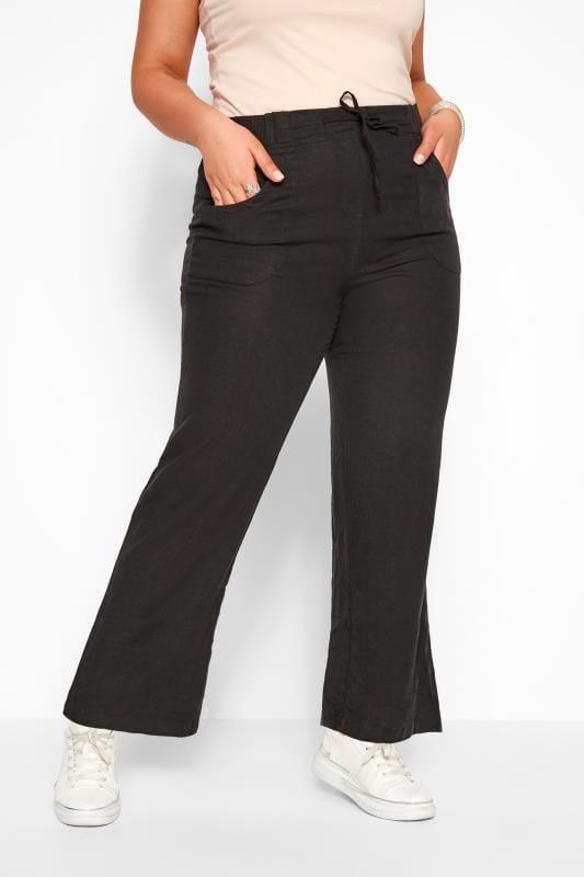Black Linen Mix Wide Leg Trousers