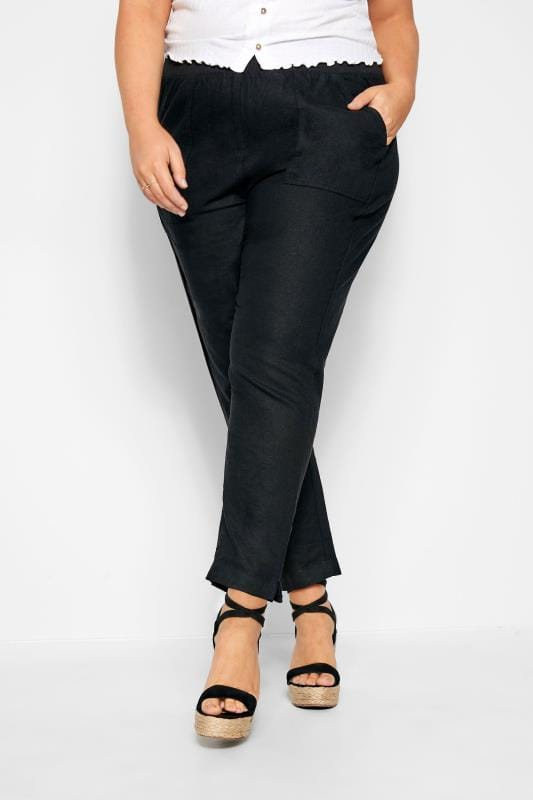Plus Size Linen Mix Trousers Black Linen Tapered Trousers