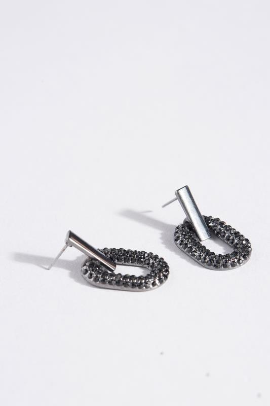 Black Oval Link Earrings
