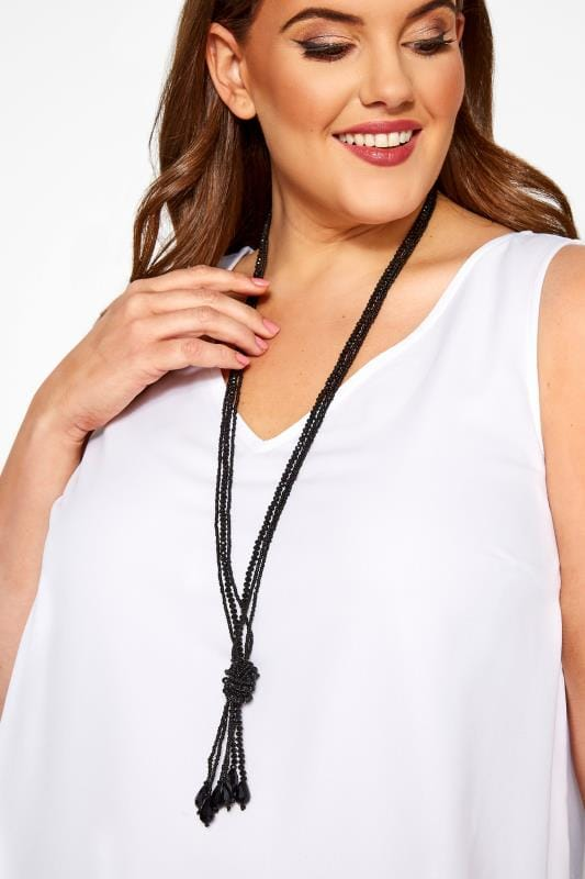 Plus Size Jewellery Black Long Beaded Necklace