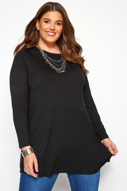 Plus Size Jersey Tops Black Long Sleeved Swing Top