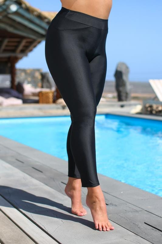 Plus Size Swim Shorts Black Long Swim Leggings