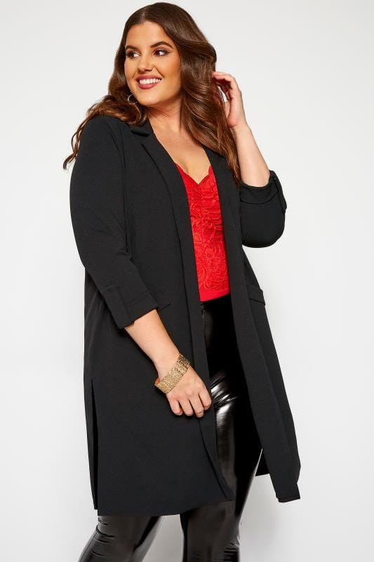 Plus Size Jackets Black Longline Duster Jacket