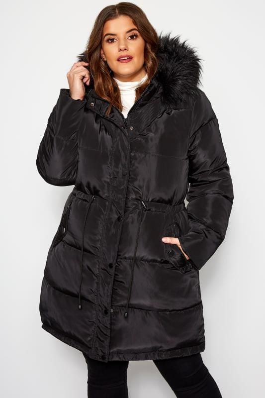 Plus Size Puffer & Quilted Jackets Black Longline Puffer Coat