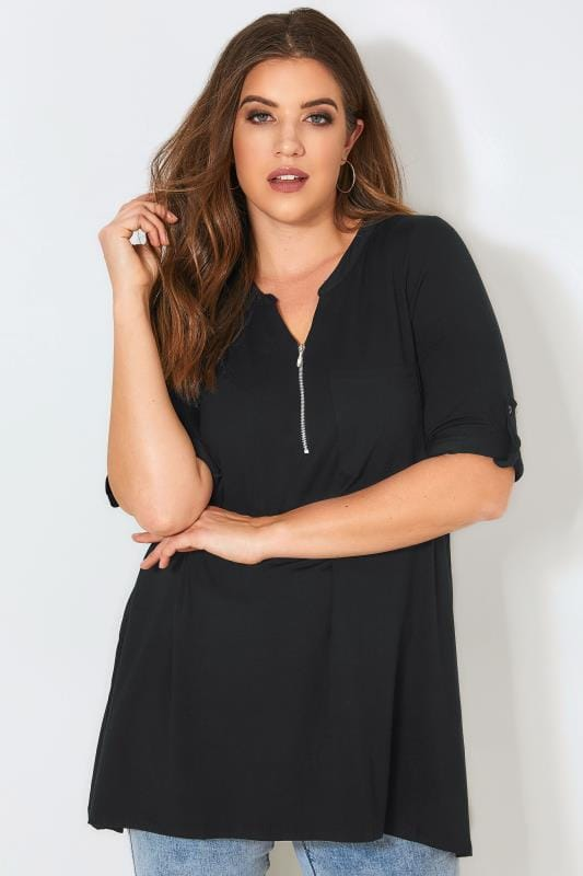 Plus Size Smart Jersey Tops Black Longline Top With Zip Front