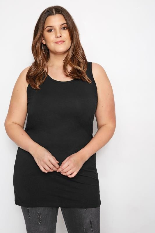Plus Size Basic T-Shirts & Vests Black Longline Vest