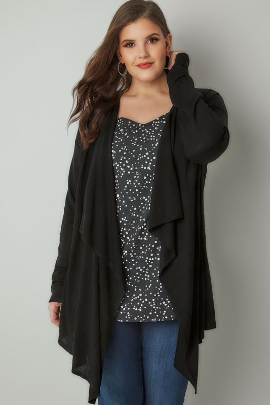 Plus Size Cardigans Black Longline Waterfall Cardigan