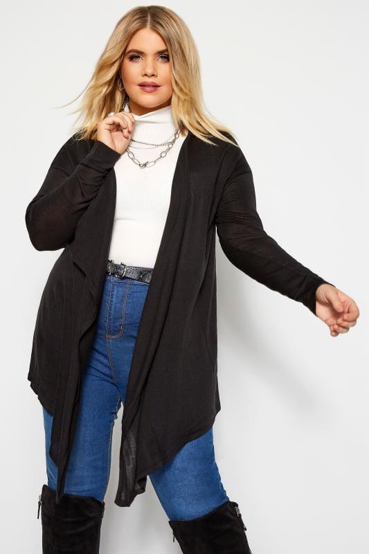 Plus Size Cardigans Black Longline Waterfall Cardigan