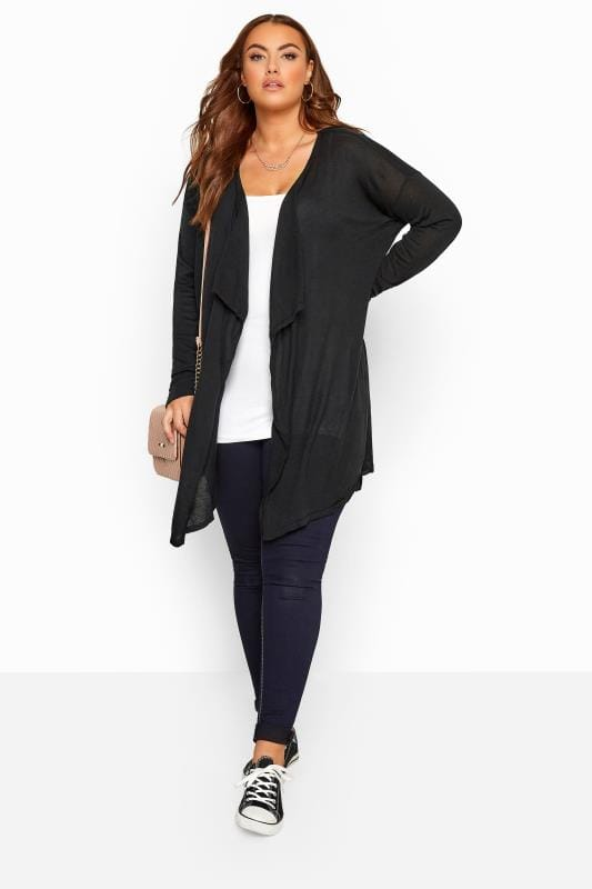 Black Longline Waterfall Cardigan