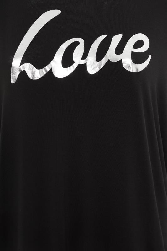 Black 'Love' Foil Slogan Extreme Dipped Hem Top