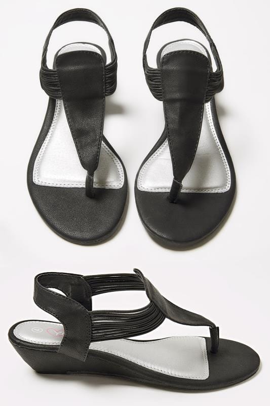 nouveau style de remise chaude New York Sandales à Entredoigt Légèrement Compensées & Élastique - Noir Pieds Larges  EEE